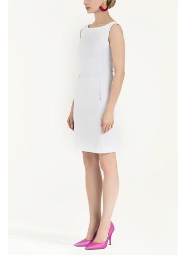 Societa Fermuarlı Dar Kesim Pamuk Elbise 92019 Beyaz